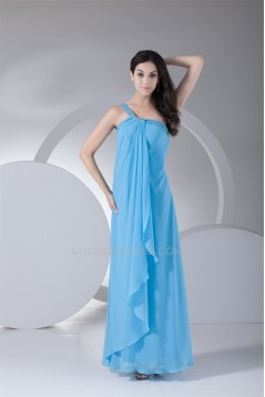 Beading Chiffon Silk like Satin One-Shoulder Long Blue Prom Evening Bridesmaid Dresses 02020071