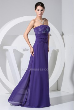 A-Line Beading Chiffon Strapless Long Purple Evening Formal Mother of the Bride Dresses 02020073