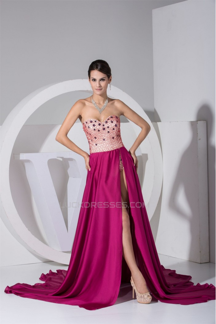 Beading Court Train A-Line Sleeveless Chiffon Prom/Formal Evening Dresses 02020074
