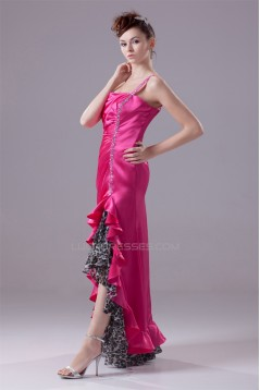 Beading Elastic Woven Satin Leopard Printed Chiffon One-Shoulder Prom/Formal Evening Dresses 02020075