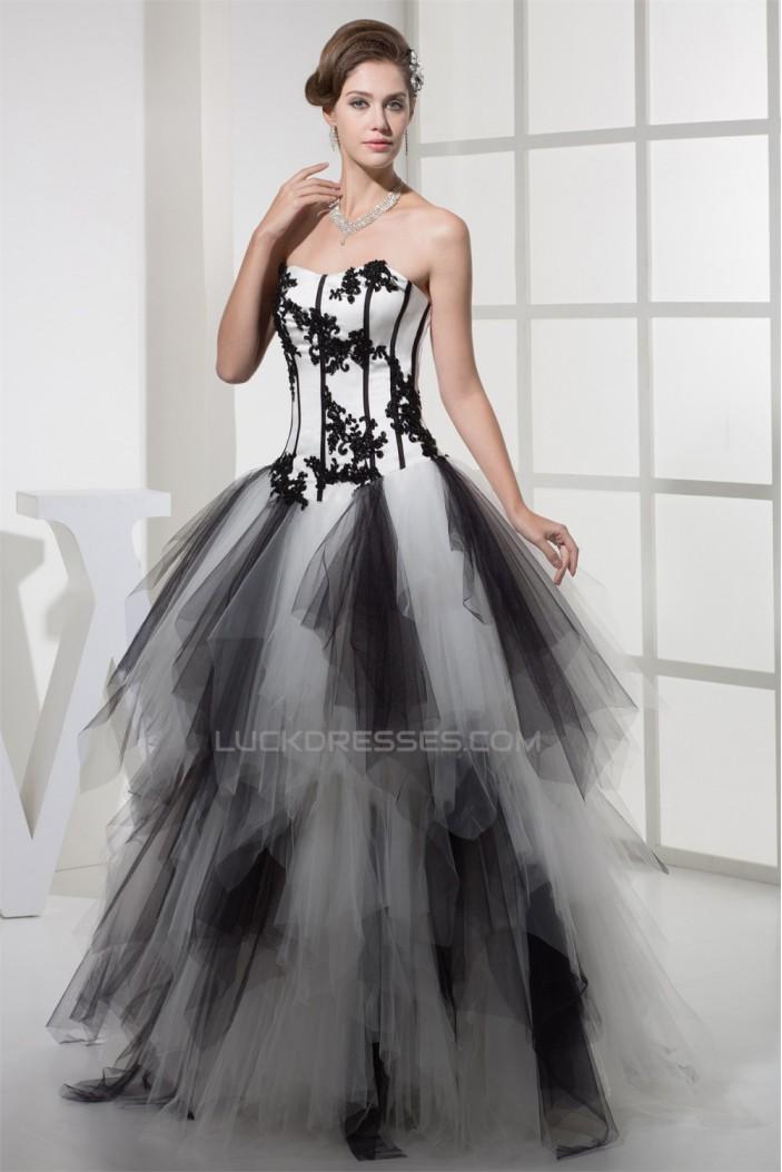 Ball Gown Beading Floor-Length Satin Fine Netting Prom/Formal Evening Dresses 02020076