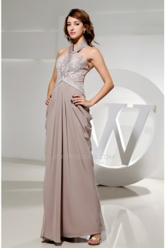 Elegant Sheath/Column Beading Halter Floor-Length Long Prom/Formal Evening Dresses 02020078