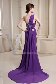 Beading One-Shoulder Long Purple Chiffon Prom/Formal Evening Dresses 02020080