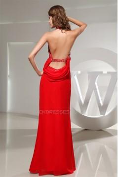 Beading Mermaid/Trumpet Halter Long Red Floor-Length Prom/Formal Evening Dresses 02020081