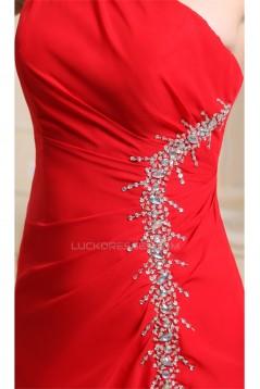 Beading One-Shoulder Sleeveless Long Red Chiffon Prom Evening Bridesmaid Dresses 02020083