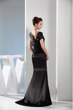 Beading Portrait Trumpet/Mermaid Silk like Satin Sleeveless Long Black Prom/Formal Evening Dresses 02020084