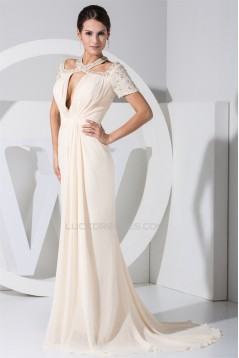 Beading Puddle Train Chiffon Short Sleeve Long Prom/Formal Evening Dresses 02020085