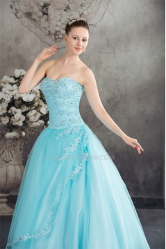 Ball Gown Sweetheart Beading Satin Lace Fine Netting Floor-Length Prom/Formal Evening Dresses 02020086