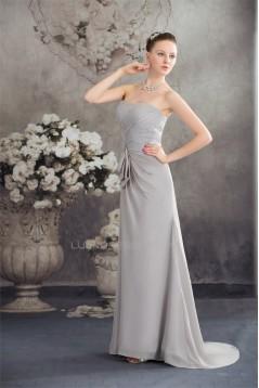 A-Line Beading Sleeveless Brush Sweep Train Long Prom/Formal Evening Dresses 02020091