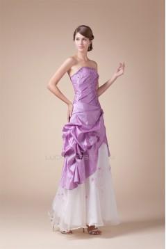 Beading Sleeveless Floor-Length A-Line Taffeta Tulle Prom/Formal Evening Dresses 02020093