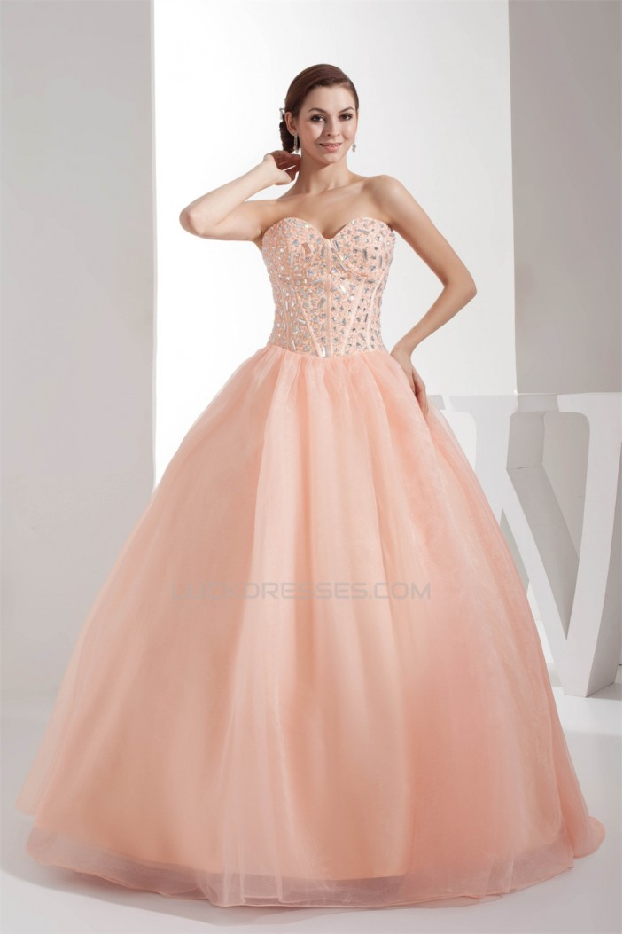 Ball Gown Beading Sleeveless Strapless Satin Organza Long Prom Formal Dresses 02020095