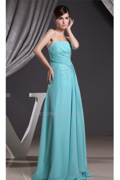 A-Line Sleeveless Strapless Chiffon Long Blue Prom Evening Formal Bridesmaid Dresses 02020096