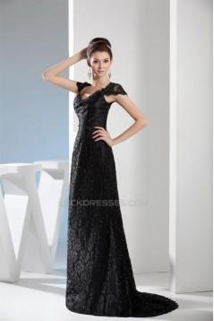 Beading Cap Sleeve Sleeveless V-Neck Lace Long Black Prom/Formal Evening Dresses 02020098
