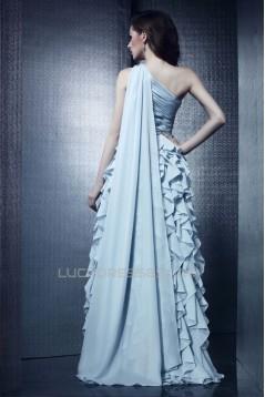 Sheath/Column One-Shoulder Long Chiffon Prom Evening Party Dresses 02021001