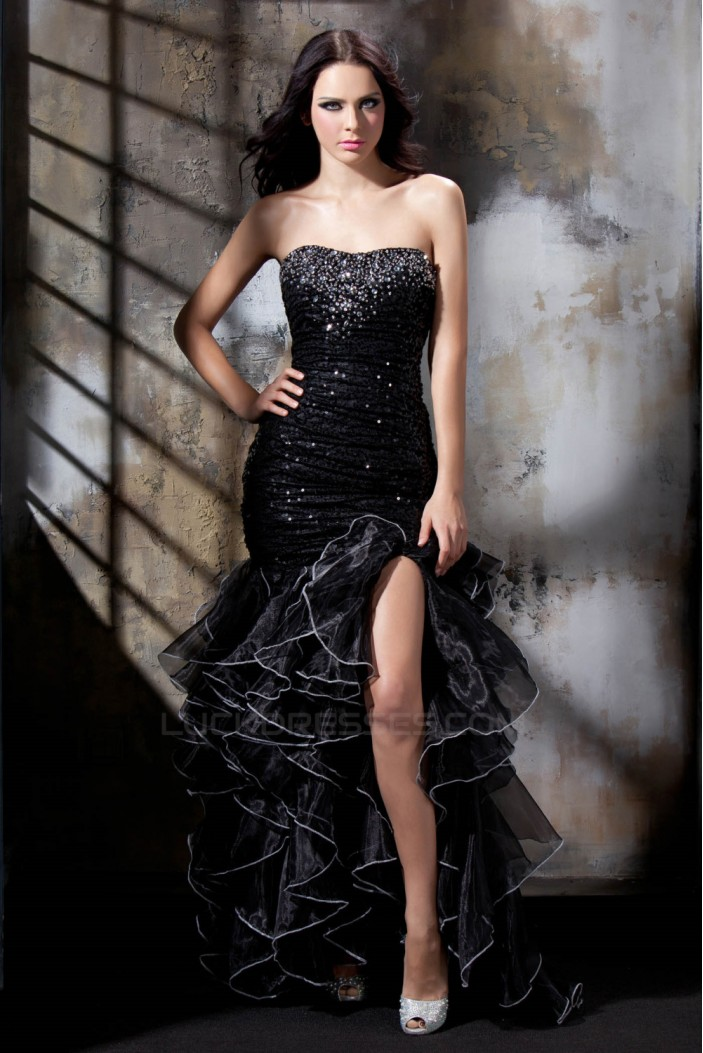 Long Black Beaded Sequins Prom Evening Party Dresses 02021002