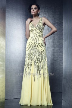 V-Neck Sequins Long Chiffon Prom Evening Party Dresses 02021003