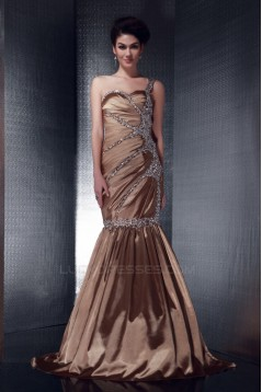 Trumpet/Mermaid Beaded One-Shoulder Long Prom Evening Party Dresses 02021005