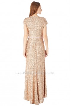Sheath Short Sleeve Sequin Long Prom Evening Party Dresses 02021006
