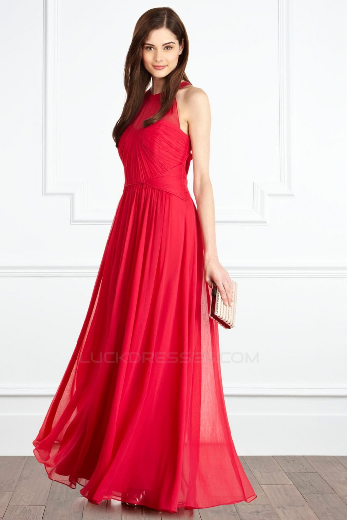 A-Line Red Long Chiffon Prom Evening Party Dresses 02021007