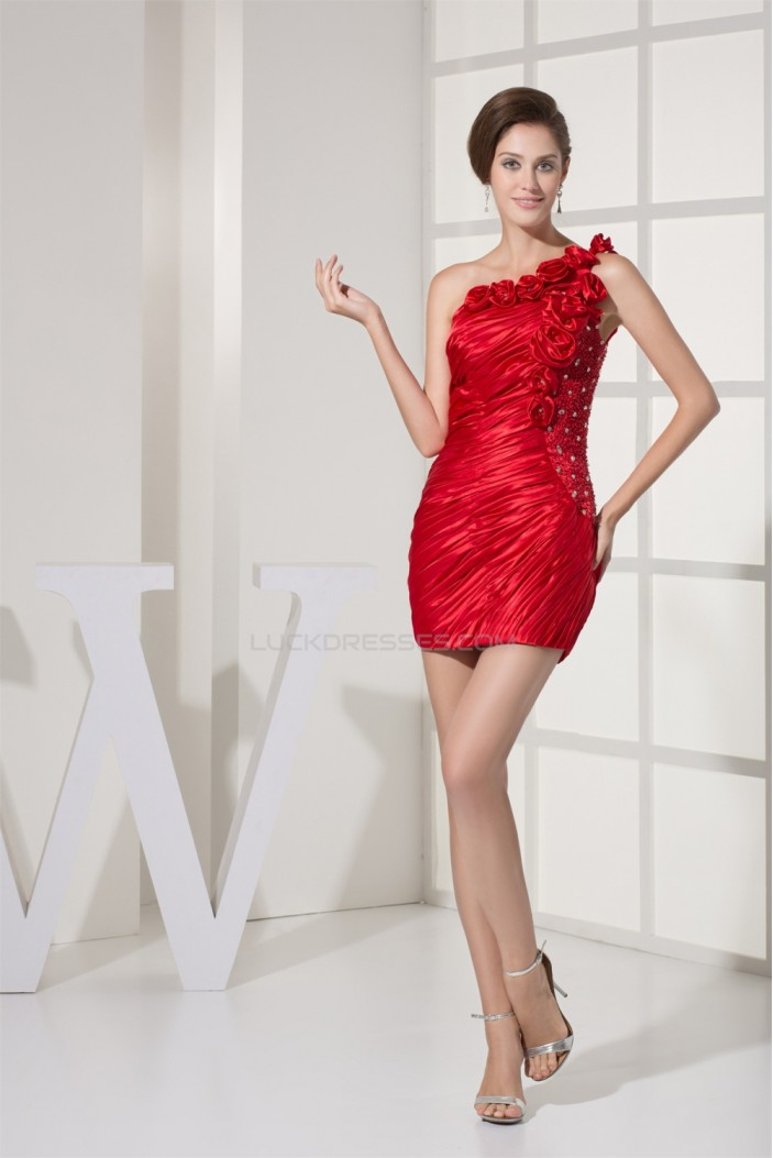 Short/Mini Beaded One-Shoulder Red Evening Party Dresses 02021012