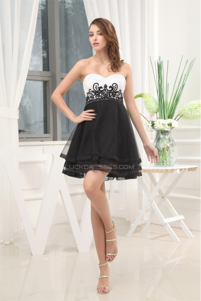 A-Line Sweetheart Black White Beaded Prom/Formal Evening Dresses 02021015