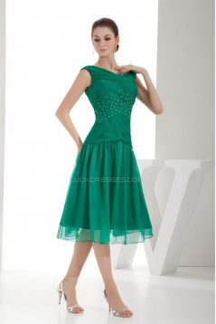 A-Line Beaded Short Green Evening Party Mother of the Bride Dresses 02021023