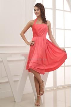A-Line Chiffon Sleeveless Halter Evening Bridesmaid Dresses 02021026