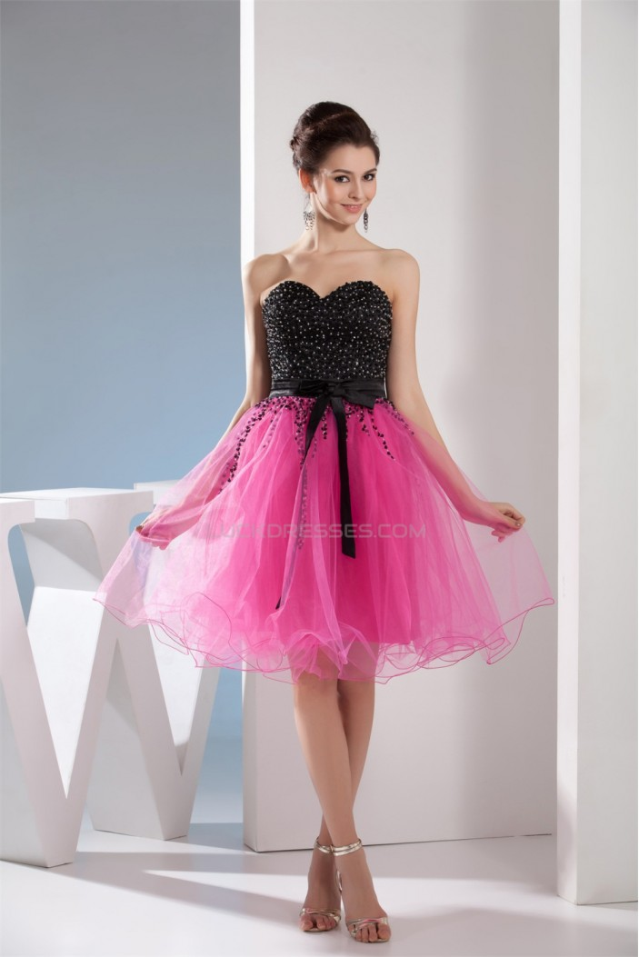 A-Line Knee-Length Beaded Netting Prom/Formal Evening Dresses 02021027