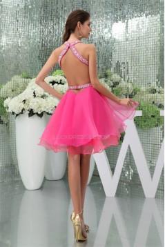A-Line Sleeveless Short/Mini Beading Halter Prom/Formal Evening Dresses 02021029