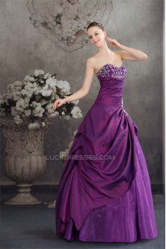 Ball Gown Sweetheart Beading Taffeta Fine Netting Floor-Length Prom/Formal Evening Dresses  02020103