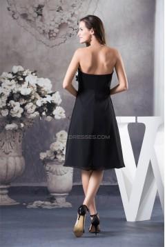 A-Line Strapless Chiffon Short Black Dresses 02021032
