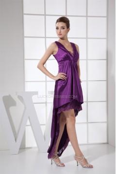 Asymmetrical Ruffles Sheath/Column V-Neck Lace Prom/Formal Evening Dresses 02021037