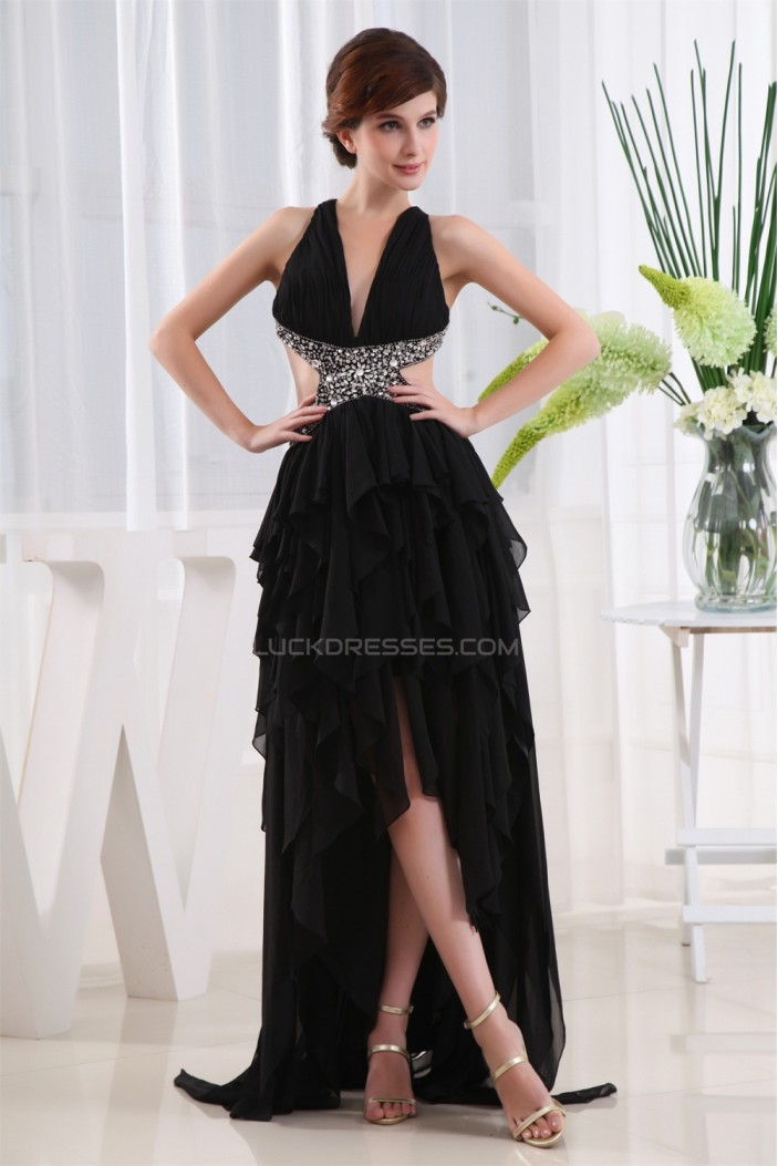 Asymmetrical Sleeveless Beading Chiffon Prom/Formal Evening Dresses 02021038