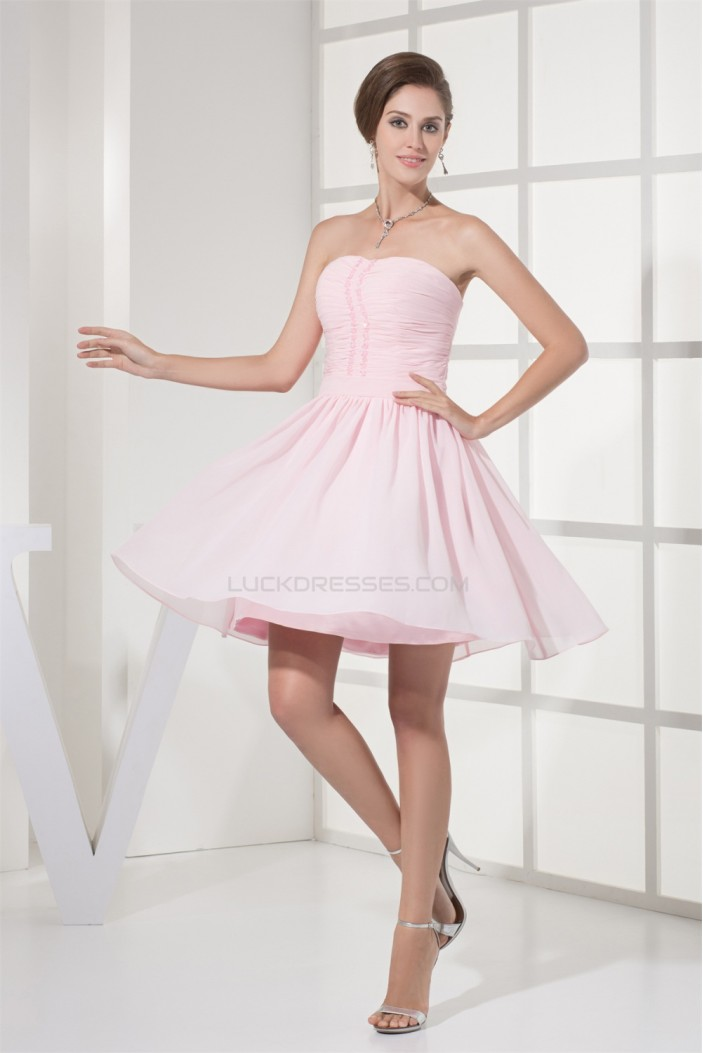 Beading Chiffon Short/Mini Bridesmaid Dresses 02021044