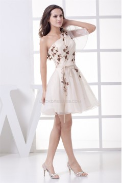 Beading Knee-Length One-Shoulder Prom/Formal Evening Dresses 02021046