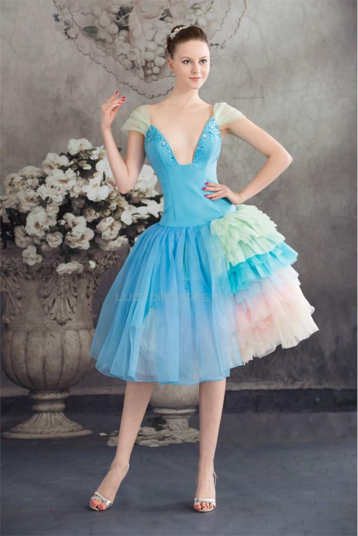 Beading Satin Organza V-Neck A-Line Tea Length Prom/Formal Evening Dresses 02021047