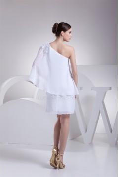 Beading Short/Mini Chiffon Little White Dresses 02021049