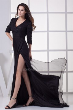 Brush Sweep Train 3/4 Length A-Line Criss Cross Long Black Sequins Prom/Formal Evening Dresses 02020105