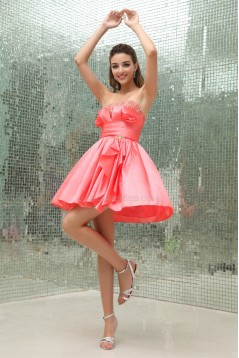 Beading Sleeveless Satin Taffeta Short/Mini Prom/Formal Evening Dresses 02021053