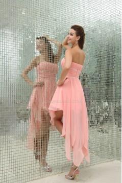 High Low Beaded Strapless Short/Mini Prom/Formal Evening Dresses 02021055