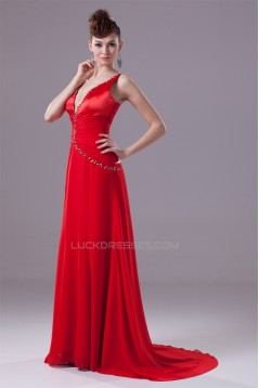Brush Sweep Train A-Line Beading Deep V-Neck Long Red Prom/Formal Evening Dresses 02020106