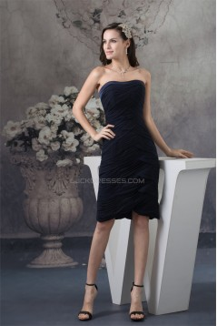 Beautiful Sleeveless Chiffon Knee-Length Strapless Bridesmaid Dresses 02021060