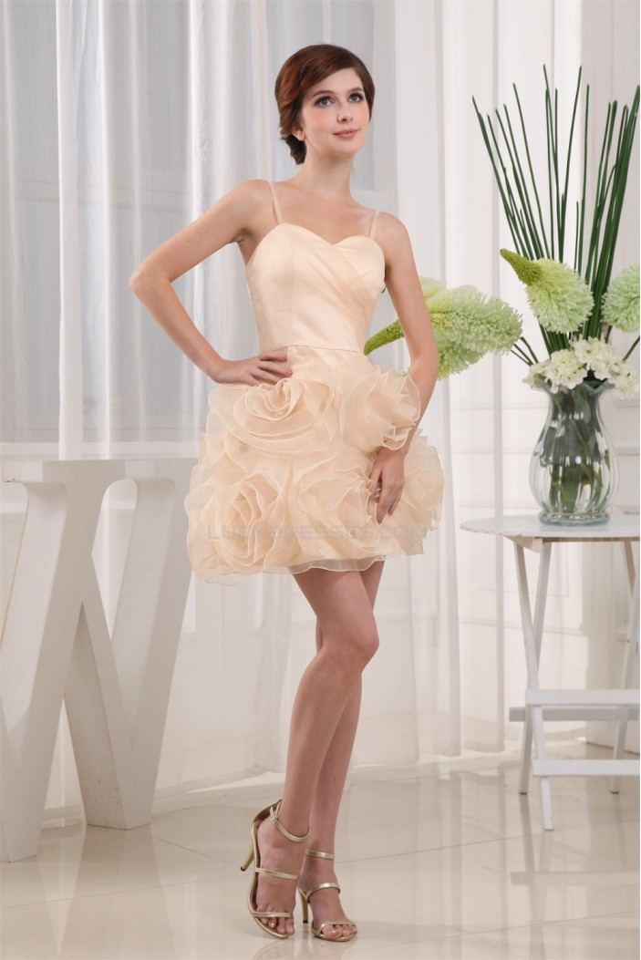 Sleeveless Satin Organza A-Line Short/Mini Homecoming Cocktail Party Dresses 02021062