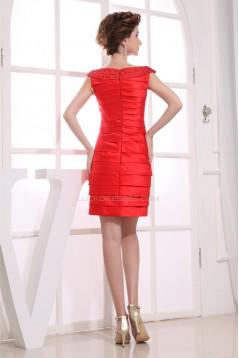 Capped Sleeves Short/Mini Bateau Sheath/Column Evening Party Dresses 02021065