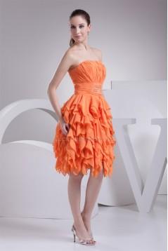 Cascading Ruffles Knee-Length A-Line Chiffon Evening Party Dresses 02021066