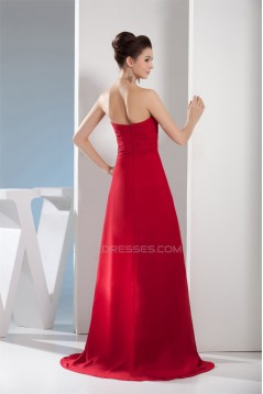 A-Line Chiffon Brush Sweep Train Long Red Prom/Formal Evening Dresses 02020107