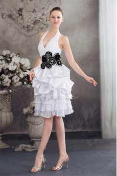 A-Line Halter Short White Homecoming Cocktail Party Bridesmaid Dresses 02021071