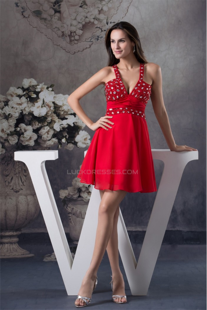 Chiffon Beading Sleeveless Short Red Prom/Formal Evening Dresses 02021074