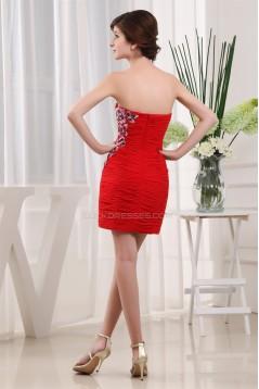 Chiffon Silk like Satin Short/Mini Ruffles Prom Evening Party Dresses 02021075
