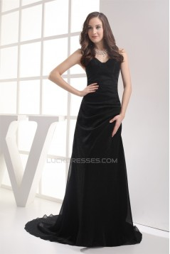 A-Line Brush Sweep Train Long Black Prom/Formal Evening Dresses 02020108